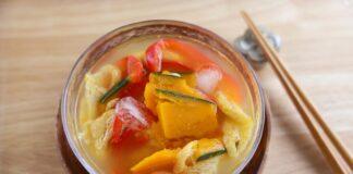 【夏みそ汁】かぼちゃと赤パプリカの冷やしみそ汁